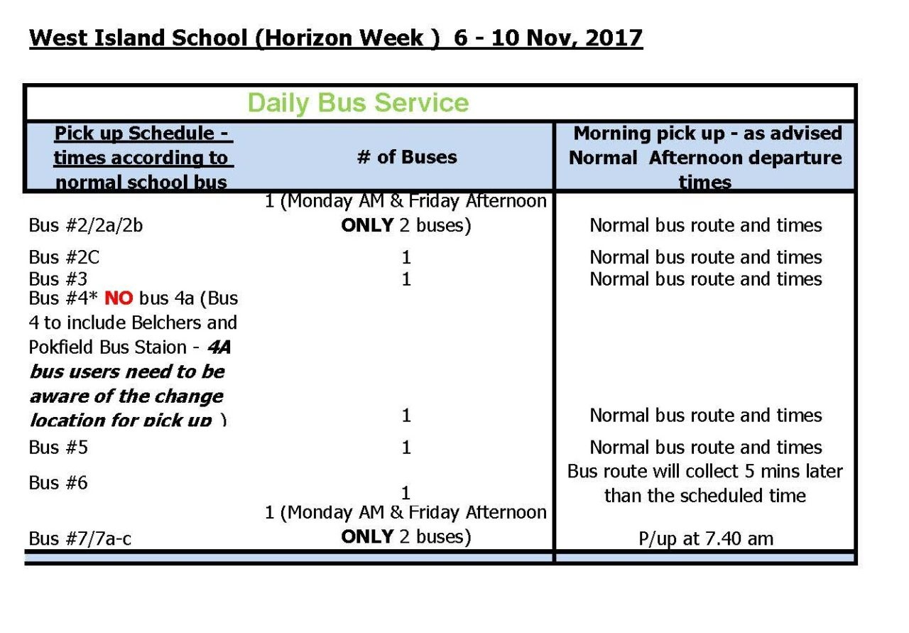 west island school – esf horizons week bus schedule - west island